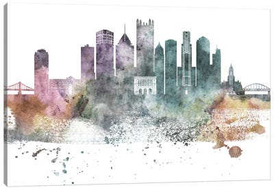 Pittsburgh Pastel Skylines Canvas Art Print