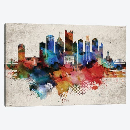 Pittsburgh Abstract Canvas Print #WDA395} by WallDecorAddict Canvas Wall Art