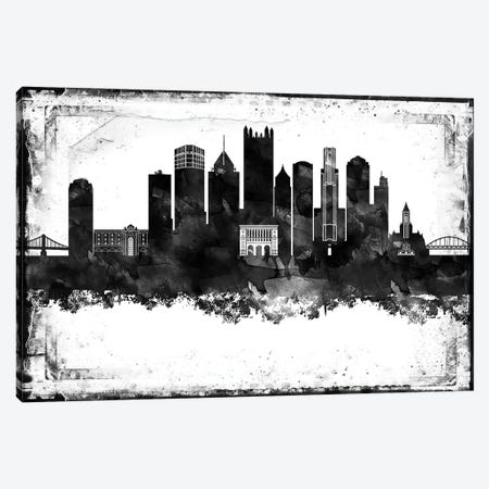 Pittsburgh Black And White Framed Skylines Canvas Print #WDA396} by WallDecorAddict Canvas Art