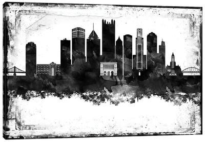 Pittsburgh Black And White Framed Skylines Canvas Art Print