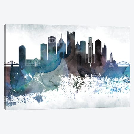 Pittsburgh Bluish Skylines Canvas Print #WDA397} by WallDecorAddict Canvas Wall Art
