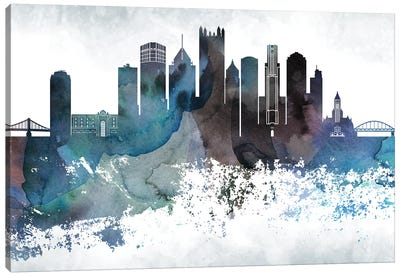 Pittsburgh Bluish Skylines Canvas Art Print