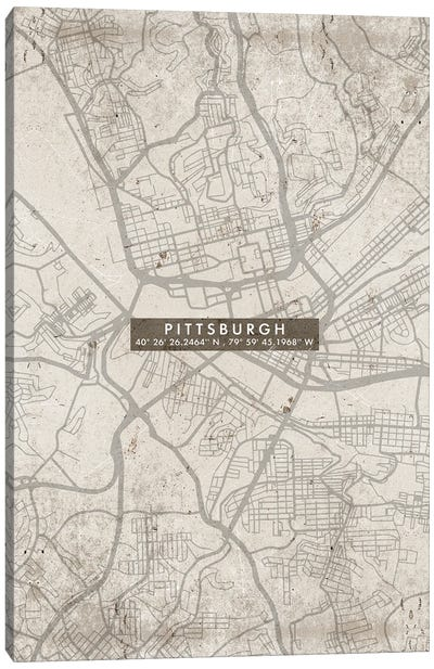 Pittsburgh City Map Abstract Canvas Art Print
