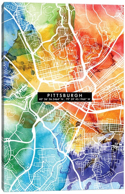Pittsburgh City Map Colorful Canvas Art Print