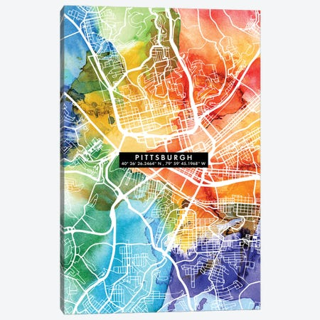 Pittsburgh City Map Colorful Canvas Print #WDA399} by WallDecorAddict Canvas Art Print