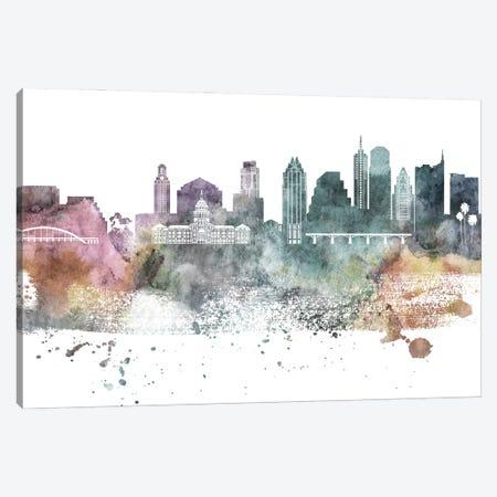 Austin Pastel Skylines Canvas Print #WDA39} by WallDecorAddict Canvas Artwork