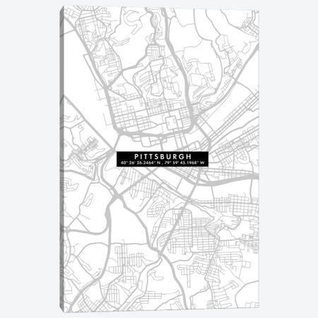 Pittsburgh City Map Minimal 3-Piece Canvas #WDA400} by WallDecorAddict Canvas Print