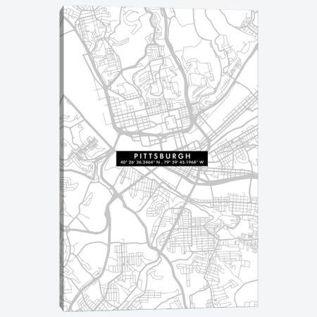 Pittsburgh City Map Minimal Canvas Print #WDA400} by WallDecorAddict Canvas Print