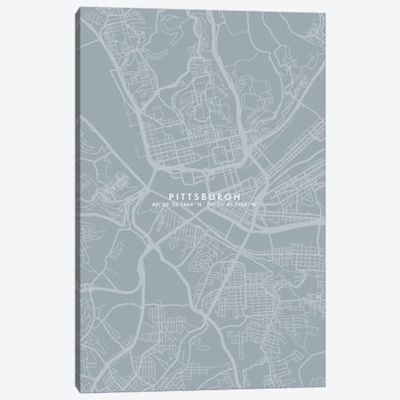Pittsburgh City Map Simple Color Canvas Print #WDA401} by WallDecorAddict Art Print