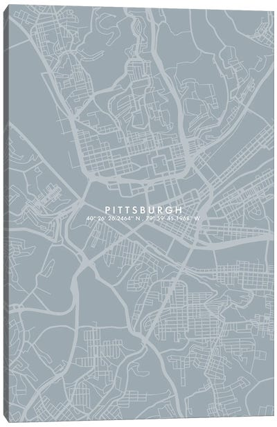 Pittsburgh City Map Simple Color Canvas Art Print