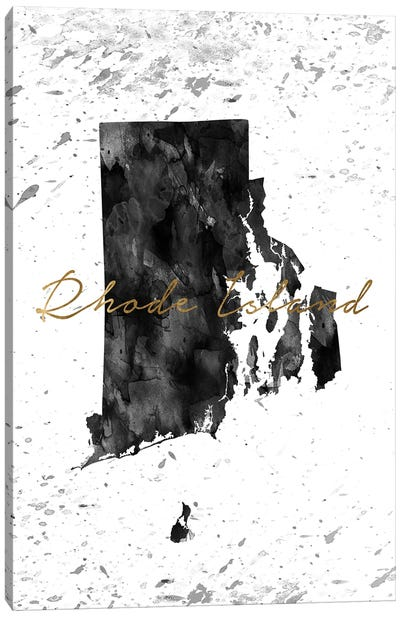 Rhode Island Black And White Gold Canvas Art Print