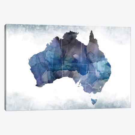 Australia Bluish Map Canvas Print #WDA40} by WallDecorAddict Canvas Print