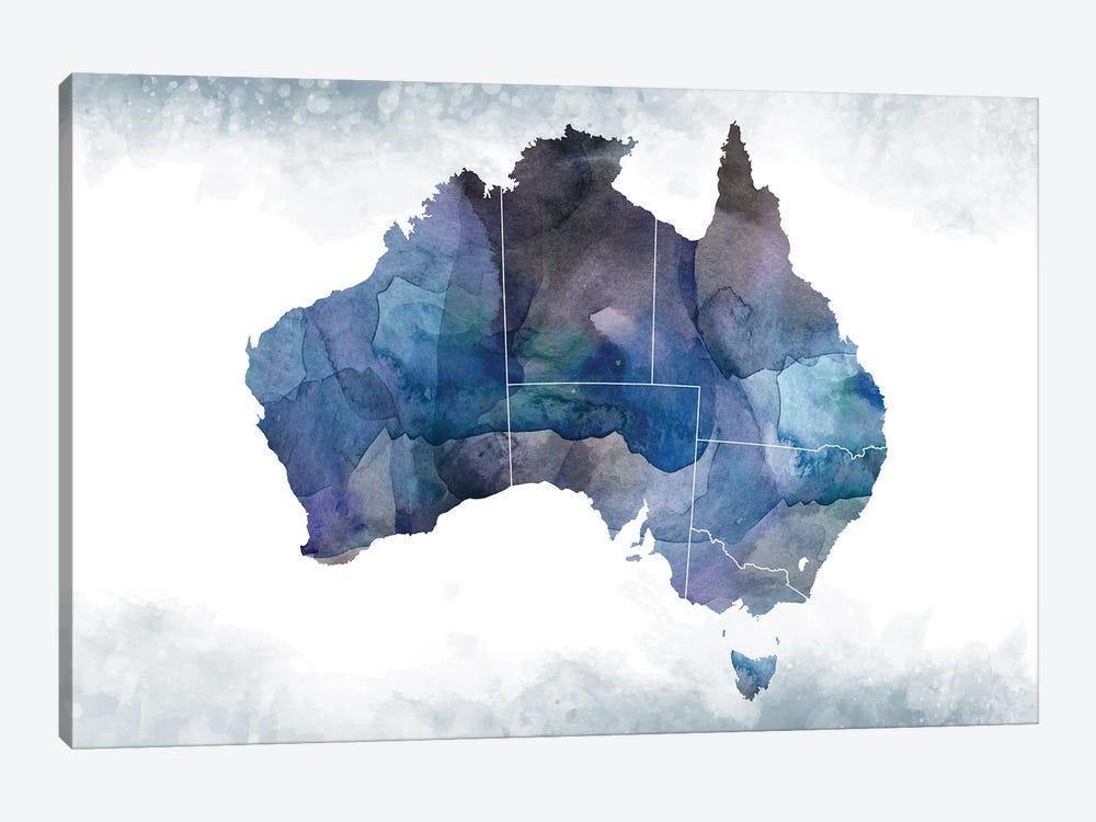 Australia Bluish Map by WallDecorAddict 1-piece Art Print