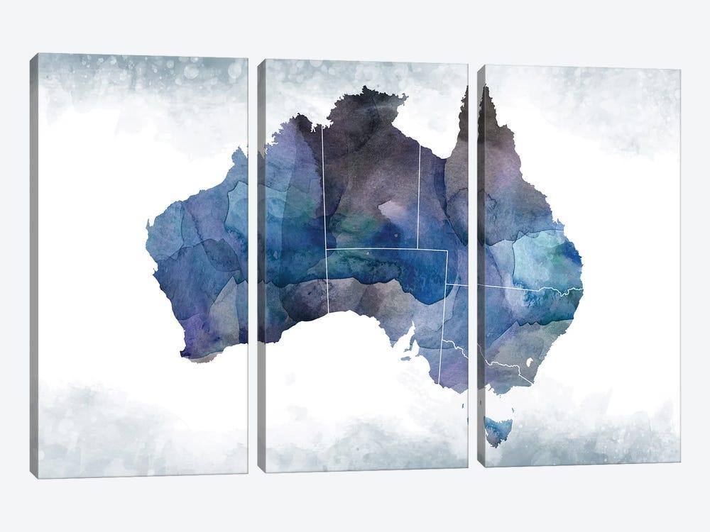 Australia Bluish Map by WallDecorAddict 3-piece Canvas Art Print