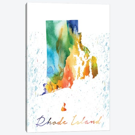 Rhode Island State Colorful 3-Piece Canvas #WDA411} by WallDecorAddict Canvas Art