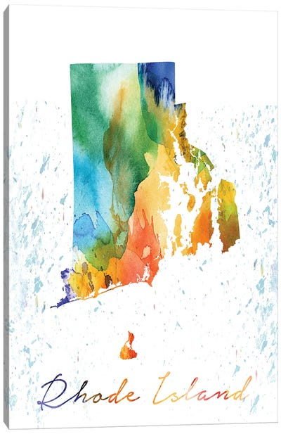 Rhode Island State Colorful Canvas Art Print