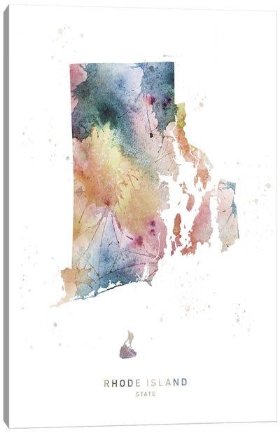 Rhode Island Watercolor State Map Canvas Art Print