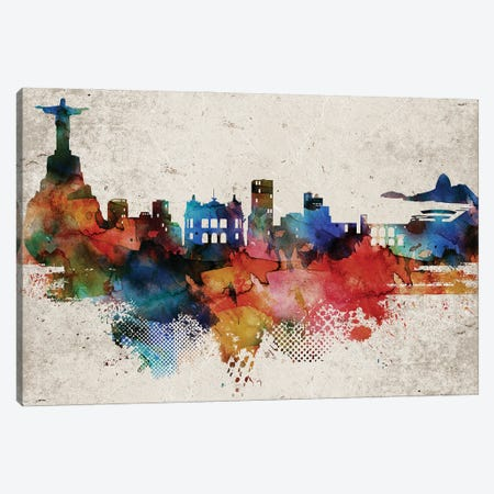 Rio Abstract Canvas Print #WDA413} by WallDecorAddict Canvas Art