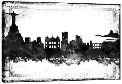 Rio Black And White Framed Skylines Canvas Art Print