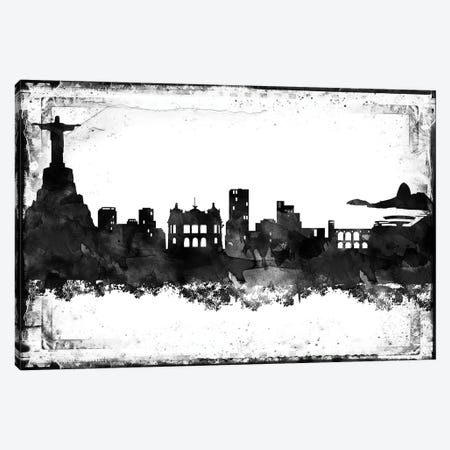 Rio Black And White Framed Skylines Canvas Print #WDA414} by WallDecorAddict Art Print