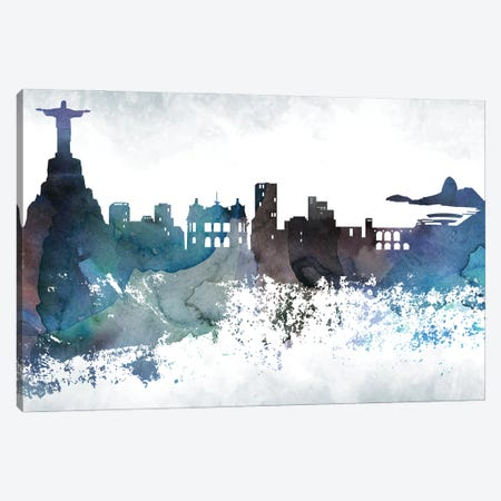 Rio Bluish Skylines Canvas Print #WDA415} by WallDecorAddict Art Print