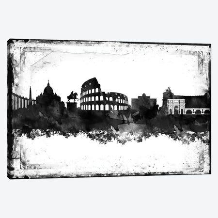 Rome Black And White Framed Skylines Canvas Print #WDA418} by WallDecorAddict Canvas Art