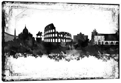 Rome Black And White Framed Skylines Canvas Art Print