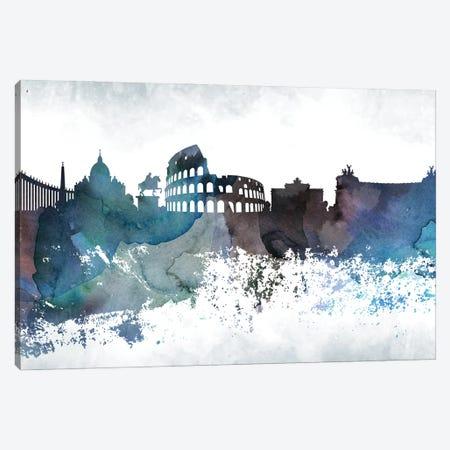 Rome Bluish Skylines Canvas Print #WDA419} by WallDecorAddict Canvas Artwork