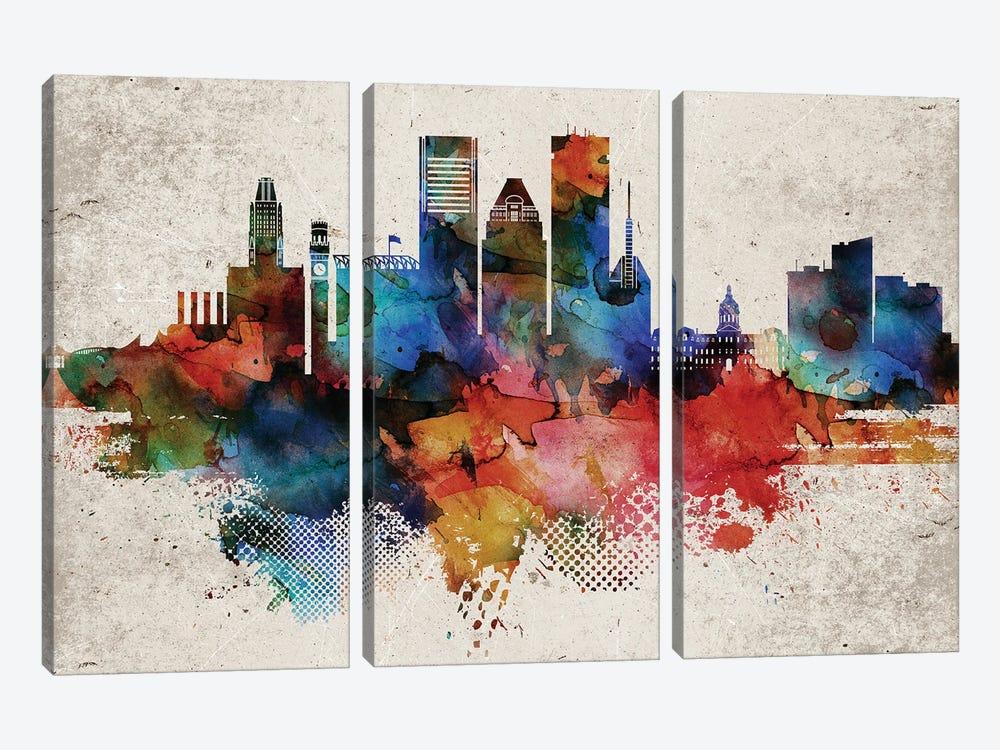 Baltimore Abstract by WallDecorAddict 3-piece Canvas Art