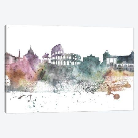 Rome Pastel Skylines Canvas Print #WDA420} by WallDecorAddict Canvas Art Print