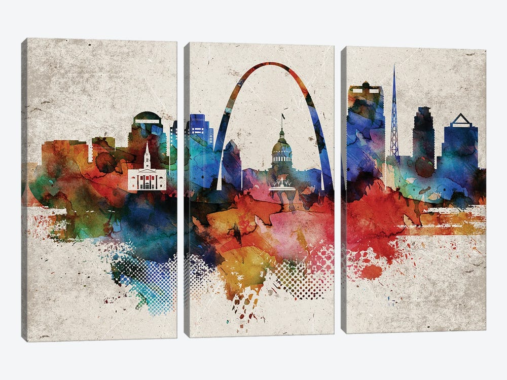 Saint Louis Abstract by WallDecorAddict 3-piece Canvas Art Print