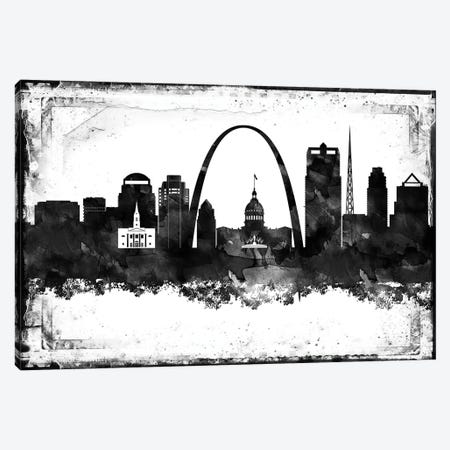 Saint Louis Black And White Framed Skylines Canvas Print #WDA422} by WallDecorAddict Art Print