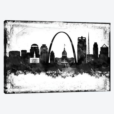 Saint Louis Black And White Framed Skylines Canvas Print #WDA422} by WallDecorAddict Art Print