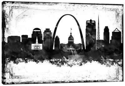 Saint Louis Black And White Framed Skylines Canvas Art Print