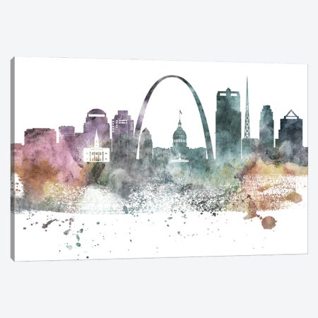 Saint Louis Pastel Skylines Canvas Print #WDA423} by WallDecorAddict Art Print