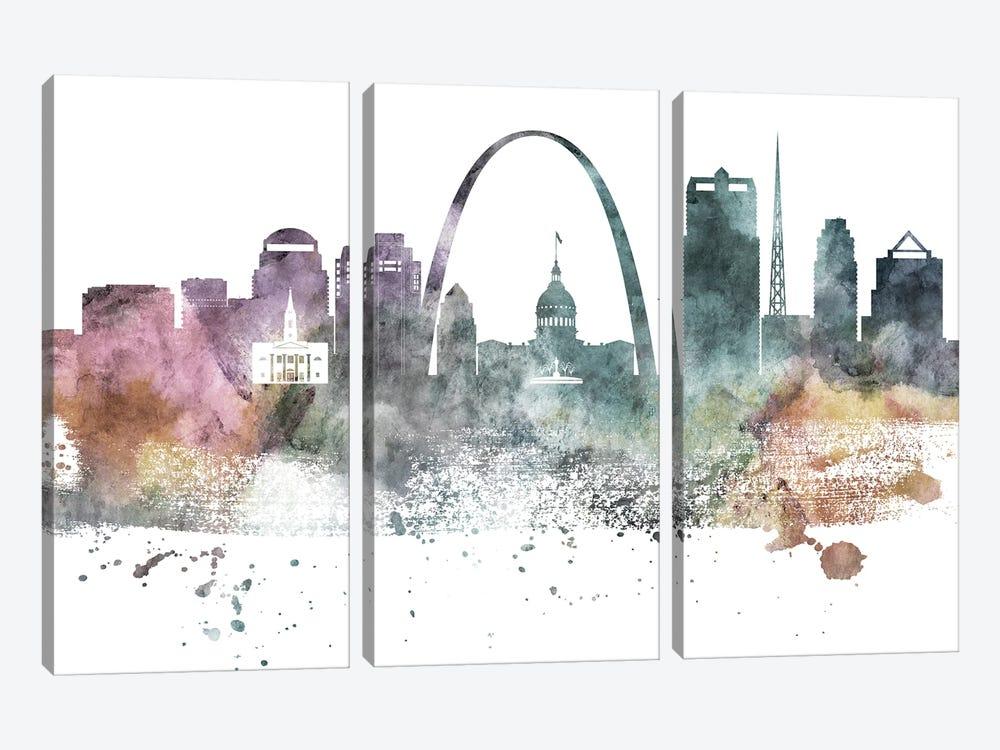 Saint Louis Pastel Skylines by WallDecorAddict 3-piece Art Print