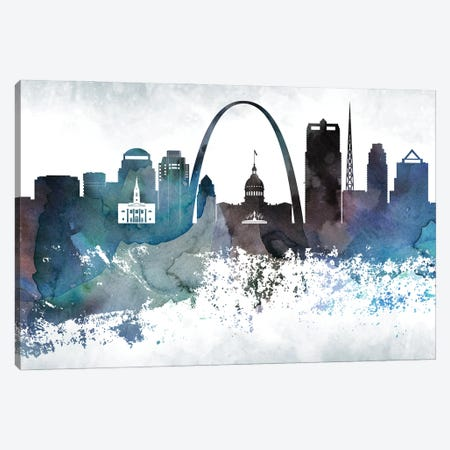 Saint Louis Bluish Skylines Canvas Print #WDA424} by WallDecorAddict Canvas Artwork