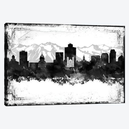 Salt Lake City Black And White Framed Skylines Canvas Print #WDA426} by WallDecorAddict Canvas Art