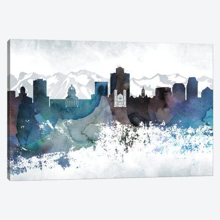 Salt Lake City Bluish Skylines Canvas Print #WDA427} by WallDecorAddict Canvas Art