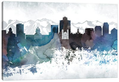 Salt Lake City Bluish Skylines Canvas Art Print