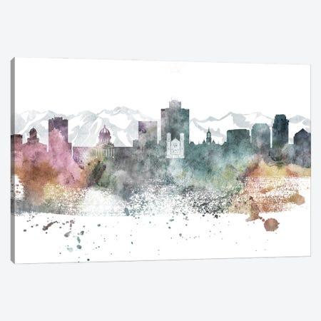 Salt Lake City Pastel Skylines Canvas Print #WDA428} by WallDecorAddict Canvas Art Print