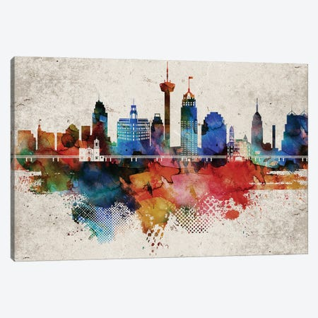 San Antonio Abstract Canvas Print #WDA429} by WallDecorAddict Canvas Art Print