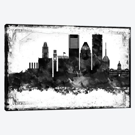 Baltimore Black And White Framed Skylines Canvas Print #WDA42} by WallDecorAddict Canvas Print