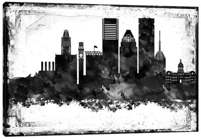 Baltimore Black And White Framed Skylines Canvas Art Print