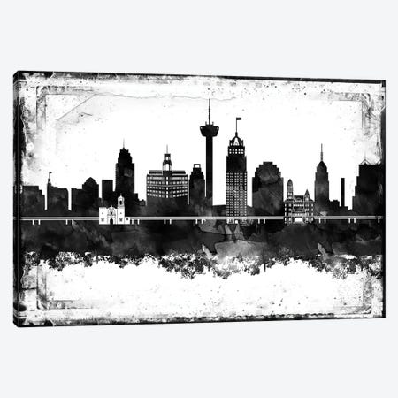 San Antonio Black And White Framed Skylines Canvas Print #WDA430} by WallDecorAddict Canvas Art