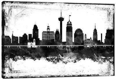 San Antonio Black And White Framed Skylines Canvas Art Print