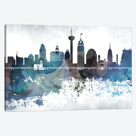 San Antonio Bluish Skylines Canvas Print #WDA431} by WallDecorAddict Canvas Artwork