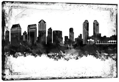 San Diego Black And White Framed Skylines Canvas Art Print