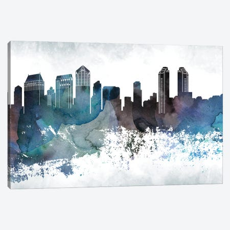 San Diego Bluish Skylines Canvas Print #WDA435} by WallDecorAddict Art Print