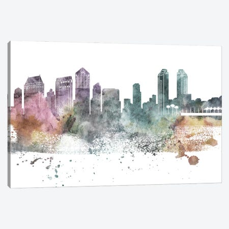 San Diego Pastel Skylines Canvas Print #WDA436} by WallDecorAddict Art Print